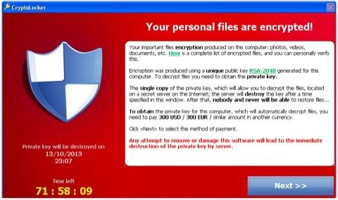 Attenzione al virus Cryptolocker e al ricatto dei truffatori