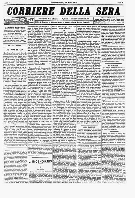 Corriere della sera il primo numero usc il 5 marzo 1876 for Corriere della sera arredamento